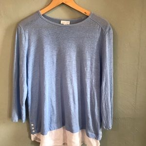 J. Jill Love Linen Sky blue 3/4 slv Lagenlook top
